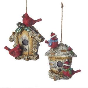 Cardinals on Birdhouse Ornament