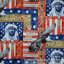 BonEful Fabric FQ Cotton Quilt VTG L Indian Native American Flag Star Eagle Bird