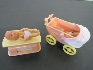 Lot Simba Barbie Miniature Baby Dolls (2), Scale, Baby Carriage
