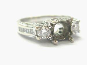 Three Stone Diamond Semi Mount Ring 14Kt White Gold 1.39Ct ( center fits 6.4mm )