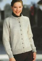 LADIES MANS CHILDRENS ARAN EASY KNIT V NECK CARDIGAN KNITTING PATTERN 1184