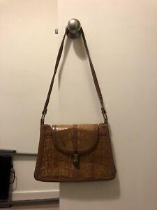 Vintage Croc Leather Turnlock Bag Handbag Shoulder Baguette Crocodile 70s Twiggy
