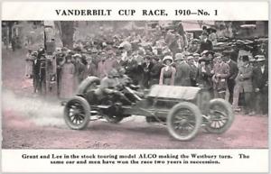Antique Postcard: 1910 Vanderbilt Cup Race No 1 the Westbury Turn