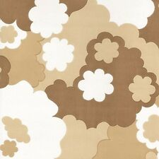 DANISH 1970s 1960s MID-CENTURY ORIGINAL Brown Floral Flowers Wallpaper