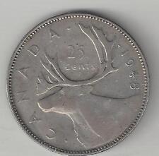 CANADA,  1948, 25 CENTS,  SILVER,  KM#44,  VERY FINE-EXTRA FINE