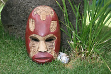 "FIJIAN TIKI MASK W/ CARVED TURTLE - 8"" LUCKY - POLYNESIAN ART 520"