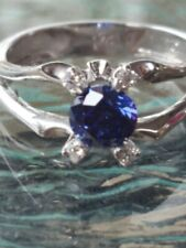 Tanzanite Round Cut And Diamond Ring 14kt Solid White Gold