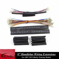 8'' Motorcycle Handlebar Extensions Wiring Harness For Harley Touring 2007-2013