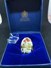 Vintage Enamel Halcyon Days Strawberry Vines Egg Trinket Box Collectible