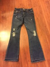 Levi's Junior's Med Wash Destroyed Boot Cut Mid Rise Jeans Fringed Bottom Sz 5M