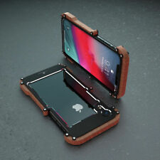 Luxury Metal Wood Bumper Shockproof Case Cover For iPhone XS Max/XR/X/6 7 8 Plus