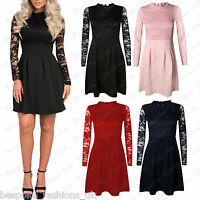 Ladies Women's High Neck Floral Lace Long Sleeve Pleated Party Skater Dress 8-16