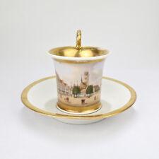Antique 19C German Biedermeier Topographical Cup & Saucer W A Wismar View - PC