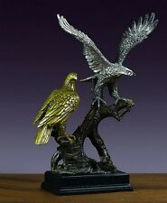 LARGE Two Eagles On Tree 15 x 18  Beautiful Pewter / Bronze Statue/Sculpture NIB