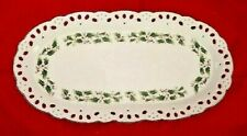 Home for the Holidays Pierced Oval Canape Serving Holly Pattern Platter 13.5 In