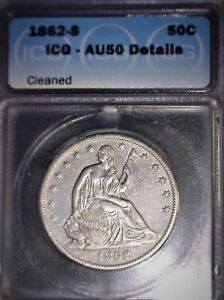 1862-S Seated Liberty Half Dollar, AU50, Civil War Era, Tougher Date !!