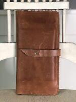 RAVEN+LILY British Tan Leather Wallet Passport Ticket Travel Organizer Billfold