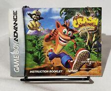 Crash Bandicoot The Huge Adventure Instructions Manual Only Nintendo Gameboy.