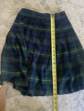 Lands End Uniform Skirt Navy Blue Girl 12 13 School Classic Short Plaid