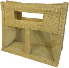 1 x Two Small Jar Jute Gift Bag - Natural Gift Bags With Handle And Windows