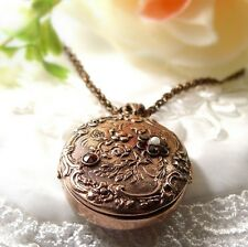 Art Nouveau style | ГР���Т W#Pk Large oval Vintage floral garnet locket in
