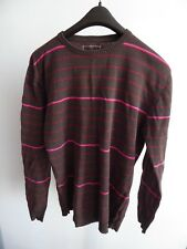 Pull fin Pepe Jeans, marron et rayures roses et rouges, taille M