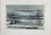 GIUSEPPE AJMONE litografia 1984 le Stagioni del Fiume ESTATE  50x35 firmata