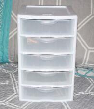 5 Drawer Tower Organizer Plastic Storage Cabinet Office Bin White Box AUC3