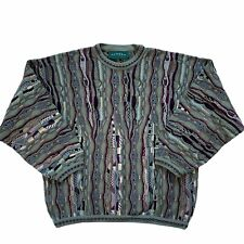 Vtg Tundra Canada Coogi Style Mercerized Cotton Sweater Sz Large Textured Cosby