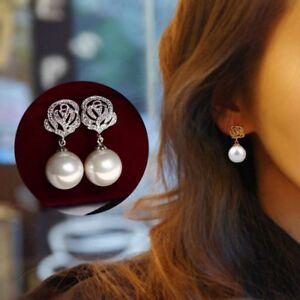 New Luxury Rose Flower Pearl Earrings Women Ear Stud Eardrop Wedding Jewelry