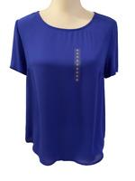 NEW Daniel Rainn Anthropologie Womens Blue Flowy Shirt Top size Small