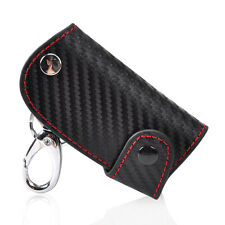 Universal Remote Smart Key Case Carbon Fiber Leather chain keyless Fob Holder