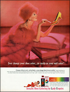 1963 elegant Woman in pink Lady Esquire shoe polish retro photo print Ad adL95