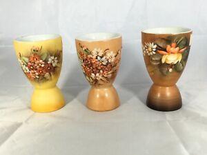 Marielli Decorative Egg Cups Porcelain Pottery Flowers Hand Painted