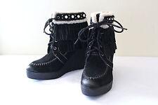 NEW! Sam Edelman Black Suede Leather Fringe Studded Kemper Boots 8 M $150