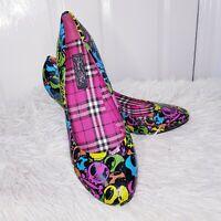 Iron Fist Vintage Retro Heeled Skull Vivid Multi Print Court Shoes UK 8 EUR 42
