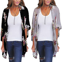 New Women Floral Loose Kimono Cardigan Boho Chiffon Coat Jacket Blouse T-Shirt