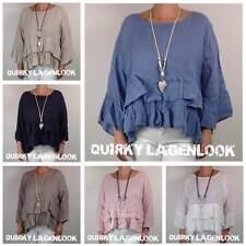 Waist Length Linen Casual Tops & Shirts for Women