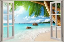 Cheap 3D Window view Exotic Beach Wall Sticker Film Mural Art Decal 617a