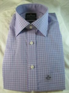 NWT STAFFORD EASY CARE BROADCLOTH Fitted DRESS SHIRT Violet Double Check Purple