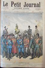 RUSSIE UNIFORMES CAVALERIE RUSSE SOLDATS OFFICIERS GRAVURE PETIT JOURNAL 1892
