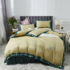 New Duvet Cover Set Linen Sheet Solid Silk Bedding Set Queen King Ruffles Quilt