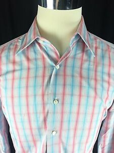 Oriali Firenze Button Down Shirt 15.75 / 40 Long Sleeve Italian Gingham Check