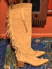 Amazing Bronx Tan Suede Knee High Boots with Boho Fringe Euro 41 Women's Size 10