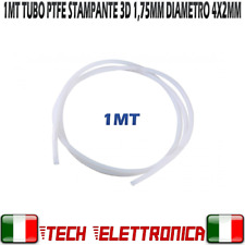 Tubo Stampante 3D teflon PTFE 1mt 1,75 mm Diametro esterno 4mm interno 2mm 3D