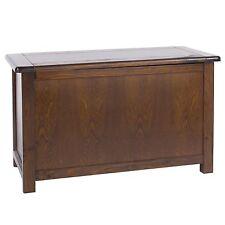 Ottoman Blanket Box Storage Trunk Dark Solid Wood Pine Baltia