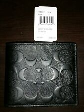NWT Coach Men's Signature Embossed Crossgrain Leather Compact Id Wallet F75371