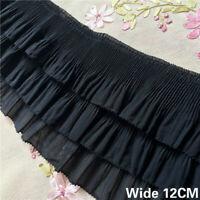 1Yard  3 Layer Pleated Trim Lace Dress Ribbon Chiffon Ruffle Sewing Craft DIY