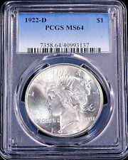 1922-D Peace Silver Dollar PCGS MS64 Full White Great Luster PQ #GC498