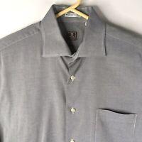 Peter Millar Mens Dress Shirt Long Sleeve Grey Size L Large 16R